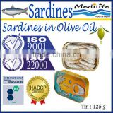 Sardines in Olive Oil ,Sardines in Olive Oil canned, 100% High Quality of Sardines, Fresh Sardines with Olive Oil,125 g