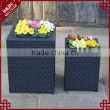 Novelty sqaure planter box outdoor resin wicker japanese flower pots