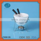 ceramic chocolate fondue burner,fondue bowl with forks,Fondue Sets Cheese Tools Type and Ceramic Material mini fondue set