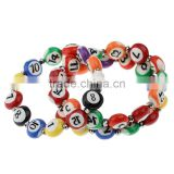 "Polymer Clay Bracelet Billiards Mixed Number Age Pattern 22cm(8 5/8"") long,5PCs,Newest"