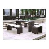Indoor / Outdoor Rattan Bar Set with 4 Stools , Brown Rattan Bistro Set