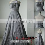 EB1310 Lotus hem neck backless ball gown embroidery empire classic evening dress