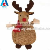 Custom Christmas Cute Plush brown milu deer toys with scarf