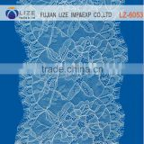 Wholesale elastic white cord lace fabric/tulle embroidery lace fabric/eyelash lace fabric LZ-6053