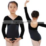Two-Tone Long Sleeve Dance & Gymnastics Leotard Professional Kids Vevet Ballet Leotard 2016
