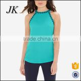 Wholesale Stylish OEM High Quality Plain Black Women Sleeveless Vest/Casual Gym Wear/Girls Daily Tank Tops