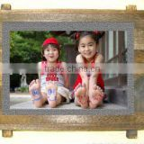 Personalized sublimation printing rock photo frame with wooden frame, rectangle shape with footstand