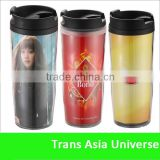 double wall plastic advertising travel mug insert paper