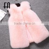 Factory direct fashion lady's fashion baby pink arctic fox fur vest
