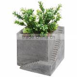 Modern Square Gray Cube Building & Stairs Design Succulent Planter Pot Small Plant box