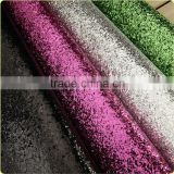 PU glitter artificial leather for upholstery and decorative grade 3 chunky glitter leather for wall paper