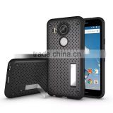 Shockproof Back Stand Case with Head Radiation Function For Nexus 5X Mesh Back Style TPU Rubber Cover Case MT-5296