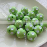 Halloween lim green color 12mm to 23mm hot selling chunky polka dot beads for jewerly making !