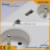 Euro/ France Type E Dual AC outlet+ 2 USB Schuko socket wall plate 230V 16A with CE approval