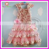 New baby pink floral satin petti dresses girls spring long flower dresses