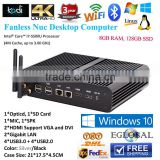 New Fanless Barebones Mini Computer Mini PC i7 5500U Haswell Windows 8 / 7/ Linux Power 12V 2*HDMI HTPC 4K 300M Wifi 3D Game                                                                         Quality Choice