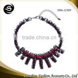 Crystal necklace for 2015 gemstone jewelry plated in gun black with shining jewelry display showcase manufactured in Yiwu China