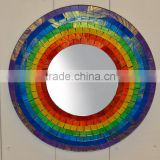 Rainbow color round and heart shape wall mosaic decorative mirror borders