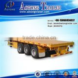 best selling 3 axles 40ft flatbed trailer / high bed trailer / container trailer with head board