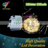 10M 100 led 3AA Battery Powered Outdoor Timer LED Silver Color Copper Wire Fairy String Lights for Christmas, Holiday and Party
