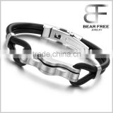Stainless Steel Leather Silicone Biker Tribal Vintage Silver Black Men Bangle Bracelet