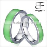 New arrivals Stainless steel glow in the dark wedding ring finger, Couples rings in silver and green color                                                                         Quality Choice