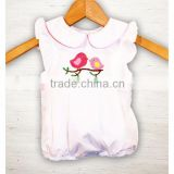 (SM105#white)0-2T New hot sale woven cotton bodysuits birds embroidered girl bubble romper for toddler