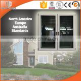 Italy style cheap aluminum clad oak wood casement french window by window and door supplier