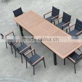 restaurant dining tables and chairs, plastic wood long dining table, outdoor garden furniture