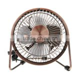 Vintage Retro 4/6 Inch 360 degree Bronze Metal USB Cooling PC Laptop Desktop Portable Desk Mini Fan