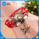 China Best Selling Women Leather Bracelet Watch Dress Starfish Pendant Vintage Quartz Analog WristWatch/woman watch VW037