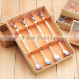 High Quality with acrylic transparent crystal Stainless Steel Long Handle Spoon Coffee Latte Ice Cream Soda Sundae Cocktail
