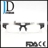 whole black buffalo horn optical glasses semi frame metal strip buffalo horn optical frame