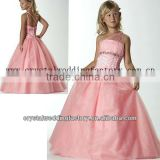 2013 hot sale one shoulder beaded ball gown skirt pink cheap little girl pageant dresses CWFaf5176