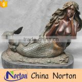Copper outdoor decorative water fountain with mermaid NTBF-MF020Y