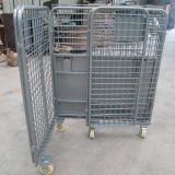Metal Wire Roll Cage Container Trolley Stackable With 4 Wheels