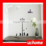 UCHOME Popular Ancient Lamp Cats and Birds Wall Sticker Wall Mural Home Decor Room Kids Decals Wallpaper