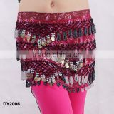 Tribal printed crochet beaded belly dancing hip belt belly dance coin belt belly dance hip scarf