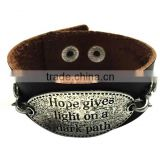 Custom words charms leather bracelet,antique men leather bracelets,stylish leather wristband Image