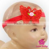 Toddler Hair Accessories Baby Girl Knit Lace Flower Plain Red Butterfly Wedding Newborn Headband