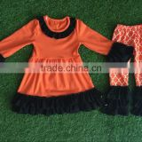 Remake Fashion Wholesale Import Price Orange Cotton Beautiful Elegant Kids Halloween Costumes Clothes Baby Girls Dress Outfits