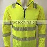 Reflective safety long sleeve t-shirt with segmented tape with half zipper closure for Europe