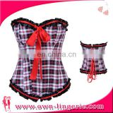 fashion Red plaid sexy overbust corset for woman