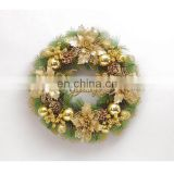 Pine Tree Leaves Christmas Wreath Door Decoration Holiday Wreath Circle Rattan Cane Hanging Decoration