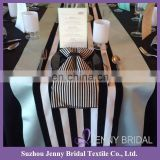 TR062A Hot sale black and white striped wedding table runners