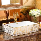 Luxury golden design square ceramic single hole bathroom hotel wash basin sinks