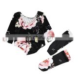 Plain black color with big blooming flower pattern romper matching long sock Soft Baby Girls Romper