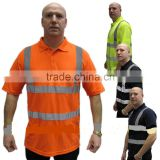 100%polyester HI Vis Polo workwear shirt with Reflective Tape Mens Short Sleeve sports Work shirt