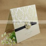 Custom Chic Cream Color Flocking Square Wedding Invitation Models                                                                         Quality Choice