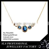 Wholesale metal charms necklace fashion jewerly 2014 blue stones rose gold plated with long chain fashion necklace